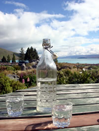 Water bottle on outdoor table