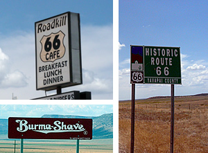 Three signs along Arizona's historic route 66
