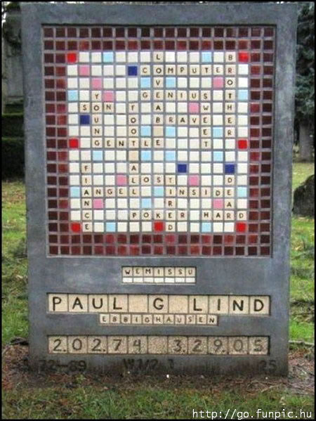 Tombstone with a crossword puzzle for inscription