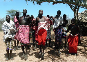 Sanburu men doing a jump dance in Kenya