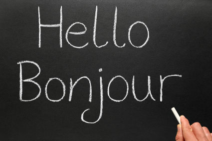 Hello Bonjour written on blackboard