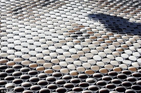 Coffee cups with various shades of coffee create sidewalk Mona Lisa