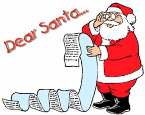 Santa Clause reading a Dear Santa letter