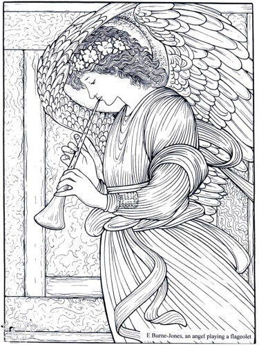 09 - edward-burne-jones-an-angel-playing-a-flageolet