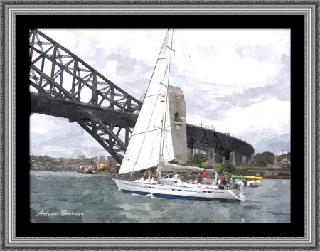 03-23-15 - Sydney Harbor Sailboat Framed Signature